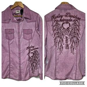 HARLEY DAVIDSON Embroidered Button Down Shirt M
